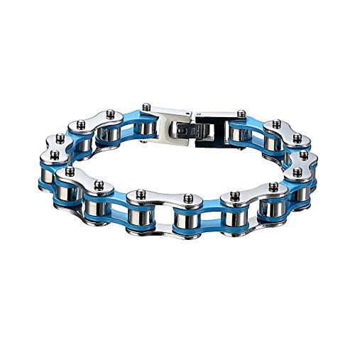 Vioness - Pulsera para hombre de acero inoxidable con cadena de bicicleta y moto, chapada en azul y plata, bicolor