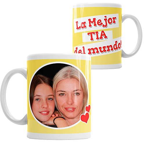 Taza Personalizada con tu Foto La Mejor Tia del Mundo - Custom mug fotográfico cerámica Idea de Regalo Tia, Cod. DES05ES