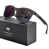 MARSQUEST 偏光サングラス ウェリントン型 軽量フレーム UV400紫外線・反射光・強光・グレアからカット 落下防止デザイン 抗衝撃 自転車・ドライブ・ランニング・釣り・登山・トレッキングのスポーツに ファッションなデザイン メンズ & レディース用(ブラック)