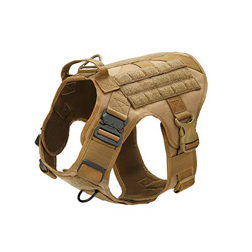Tactical Dog Vest Molle k9 Harness with Pulling Handle and Front Clip Leash