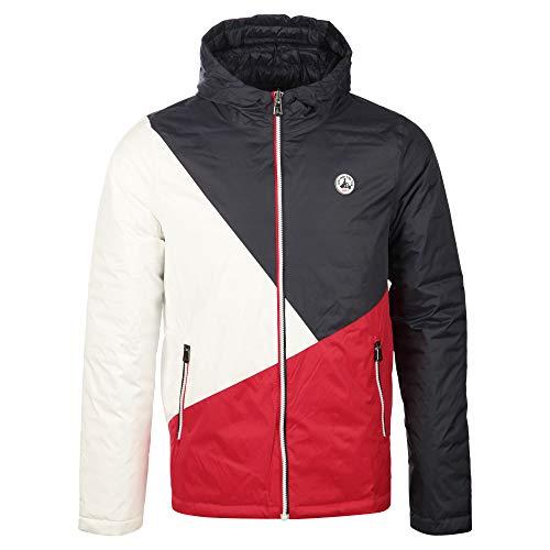 JOTT Chicago - Chaqueta de plumón para hombre, chaqueta reversible, chaqueta acolchada, azul, blanco, rojo, multicolor, con capucha, aislamiento térmico, resistente al agua y al viento