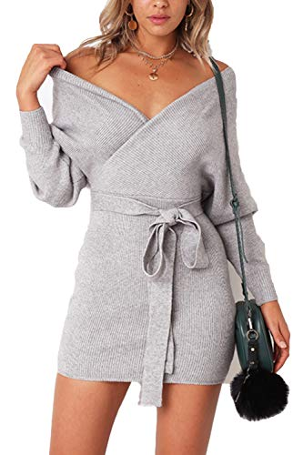 JOYCHEER Womens Sweater Dresses Sexy V Neck Backless Long Batwing Sleeves Mini Bodycon Dress Grey