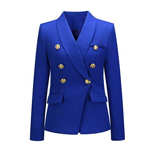 Mitef, giacca da donna, stile classico, casual, con colletto a scialle, con bottoni a doppio petto, giacche da ufficio e da lavoro formale Blu S