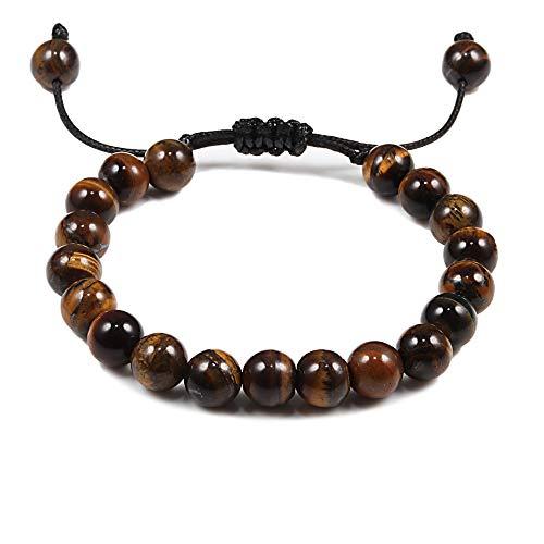 GROPC Beaded Bracelet,8Mm Adjustable Natural Tiger Eyes Stone Beads Men Bracelets Braided Rope Elastic Yoga Friendship Wristband Bracelet Bangles For Men Women Gift-Brown