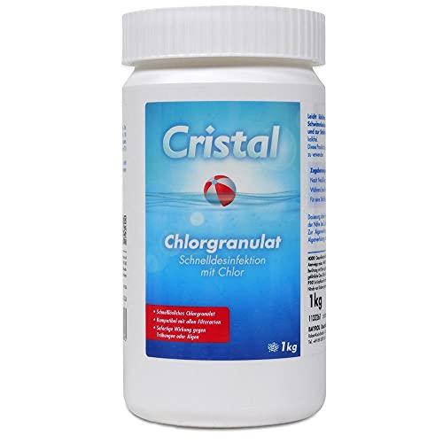 Cristal Chlorgranulat schnell löslich 1 kg, schnelle Wirkung - zur Schnelldesinfektion und Schockchlorung im Pool
