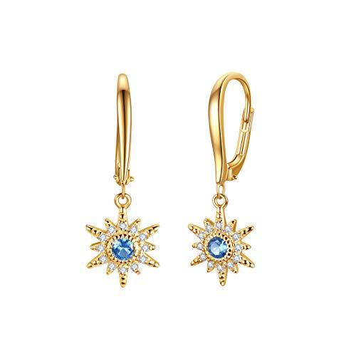 Star Charm Danlge Ohrringe mit blau-weißem Zirkonia, 14 Karat vergoldet Leverback French Hook Ohrringe für Frauen
