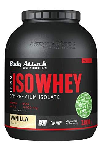 Body Attack Extreme Iso Whey, Whey Protein Pulver zum Muskelaufbau aus 100{d88884877b789bb2826fdfbe2c3fc46b4ca840ff64e7af00442e4a05defc2fa2} irischer Weidemilch, fettarmes Eiweißpulver ohne Aspartam (Vanilla, 1,8 kg)