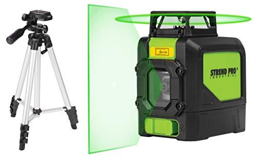 STREND PRO Kreuzlinienlaser selbstnivellierend Grün mit stativ, 1x 360 grad, High-Visibility-Technologie, inkl laser stativ, Magnethalter, batterie. Rotationslaser selbstnivellierend mit pulsfunktion
