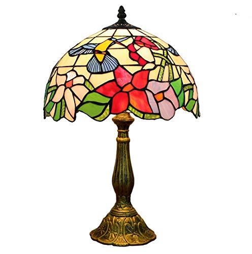Lámparas de mesa de estilo vintage de 12 pulgadas, base de la aleación Lámpara de escritorio de vidrieras para el restaurante pastoral Estudio de la sala de la decoración de la sala de noche