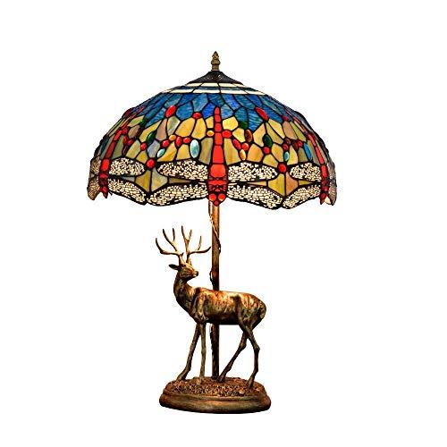 Allamp Norte de Europa 16' Tiffany turística Elk americana de la lámpara azul de la libélula retro del vitral de Tiffany Sala de estar Restaurante Bar dormitorio estilo Tiffany cubierta de noche lámpa