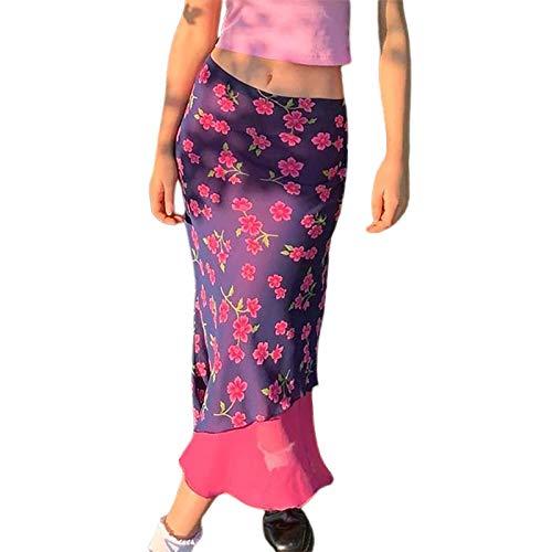 MAHUAOYIXI Y2K - Falda elegante para mujer, con estampado floral, falda de tul, falda de sirena larga, vestido de playa violeta L