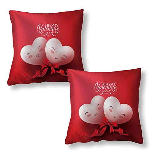 SUPNON Valentine's Day Sweet Smiling Hearts Couple Throw Pillow Covers and Animal Pattern Pillowcase 18'X18'Decorative Cover Sets for Pillows -Couch,Bed,Home Decor-of Unique Bedding Accessories