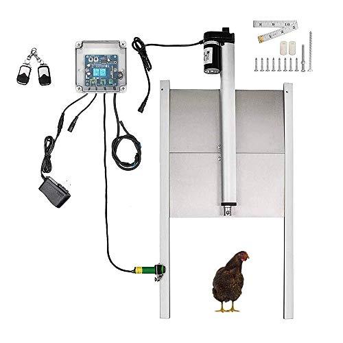 Puerta automática para gallinas con temporizador/sensor de luz, puerta de gallinero automática, función de parada de emergencia real y tapa de 300 x 300 mm (temporizador).