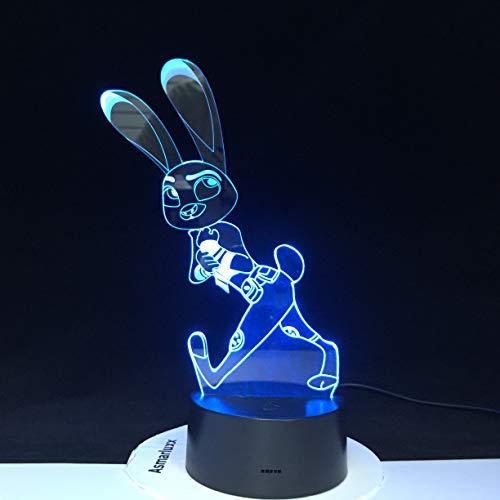 Jiushixw 3D acryl nachtlampje met afstandsbediening van kleur veranderende tafellamp mad Animal City Judy konijn kind geschenk animatie sieraden druppels kas lamp