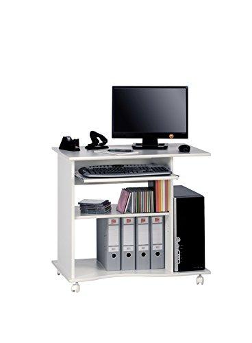 Computertisch Schreibtisch MAJA mit Tastaturauszug (Weiß uni)