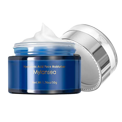 Mylansea Face Moisturizer for Women & Men, 10% Pure Hyaluronic Acid Face Cream with Vitamin E for Lasting Hydration, Anti Aging and Smooth & Tighten Skin 50g