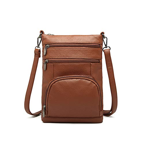 Kono Women Multi Pocket RFID Blocking Crossbody Bag Small Fashion PU Leather Messenger Travel Organizer Satchel Sling Shoulder Bags (Brown)