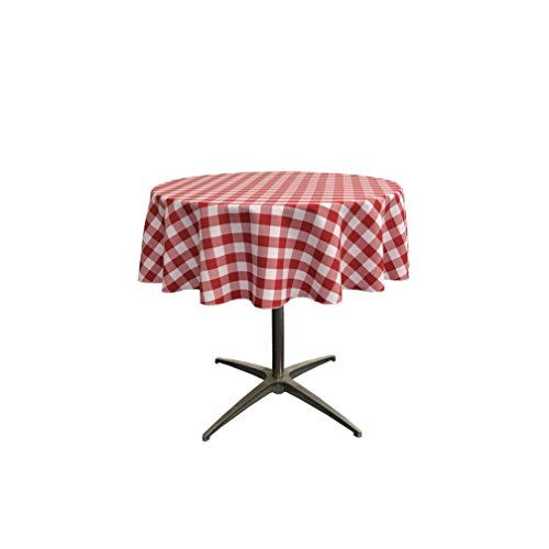 LA Linen Poly Checkered Round Tablecloth, 51', Red/White