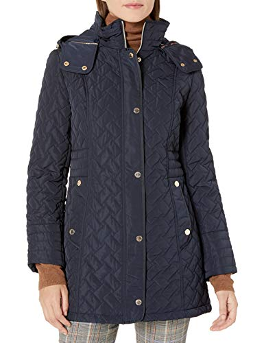 Gallery Women's Quilted Jacket with Detachable Hood, Ink Navy, Medium