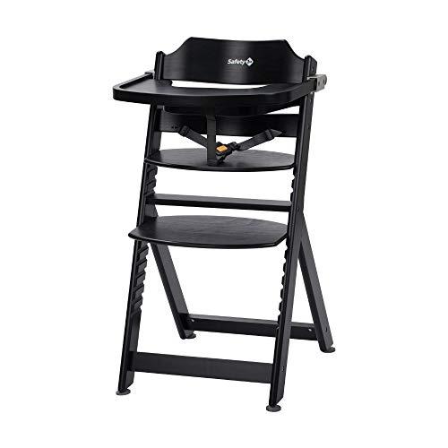 Safety 1st Timba Chaise haute évolutive avec plateau amovible en bois de hêtre massif, dossier haut de 6 mois à env. 10 ans (max 30 kg), bois de hêtre noir profond