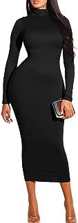 Women's Sexy Turtleneck Long Sleeve Elegant Bodycon Party Long Dress