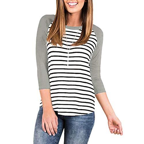 FRAUIT Damen gestreiftes Hemd 3/4 beiläufige Tunika-Bluse Einfache Pullover-Oberseiten Raglan Lose Weich Bequem Atmungsaktiv Übergröße Frauen Ausgestelltes Langes Top