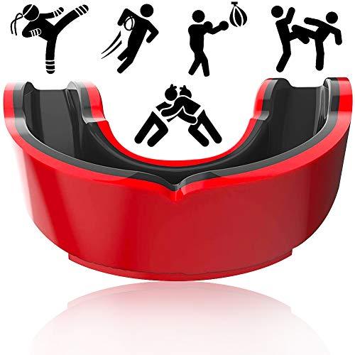 FANDE Protector Bucal Dental, Protector Bucal Deportivo, para Boxeo, MMA, Rugby, Fútbol, Jóvenes y Adultos (Negro y Rojo)