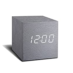 Gingko Cube Digital LED Alarm Clock Aluminum