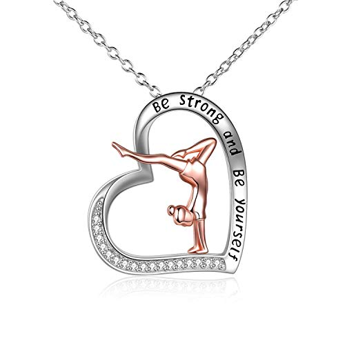 Gymnastics Gifts for Girls Sterling Silver Gymnastics Heart-Shaped Pendant Necklace for Women (silver-Gymnastics Necklace)