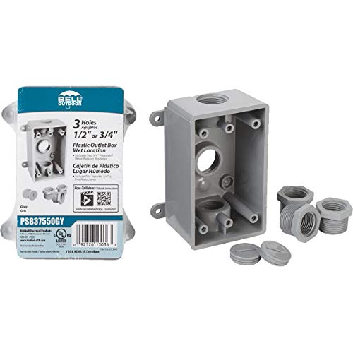 Hubbell-Bell PSB37550GY Single-Gang Weatherproof Three 1/2 in. or 3/4 in. Threaded Outlets, 2 in, Gray