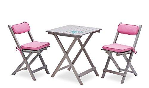 """Landmann 7-teiliges Balkonset """"Pontia Pink"""" inkl. Auflagen mit quadratischem Tisch von Landmann Belardo"""