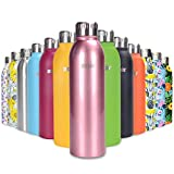 ANSIO Water Bottle,Vacuum Flask & Stainless Steel Water Bottle Double Walled Insulated Drinks Bottle Hot&Cold BPA Free Outdoor Sports Camping Hiking Cycling- 500ML-Chrome Rose-Lifetime Guarantee