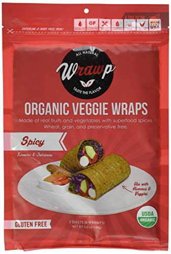 WrawP Spicy 1 Pack Organic Spicy Jalapeno & Turmeric Veggie Wraps | Plant-Based Wheat-Free Gluten Free Paleo Wraps Non-GMO Vegan Friendly Made in the USA