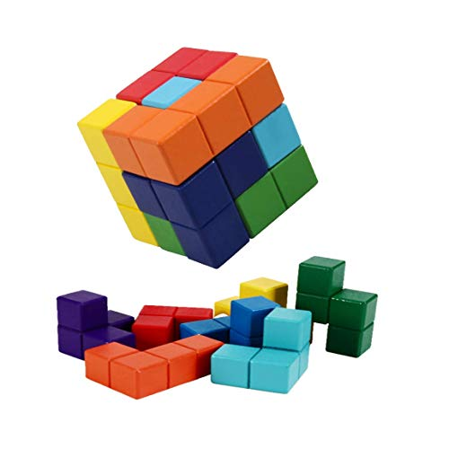 B&Julian® Holz Somawürfel knobelspiel 3D Tetris Tangram Puzzle mit 7 bunt Soma Würfel Geduldspiel für Kinder Erwachsene