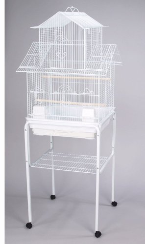 Mcage Large Canary Finch Parakeet Cockatiel Lovebird Bird Cage with Stand 18x18x58 H (White)