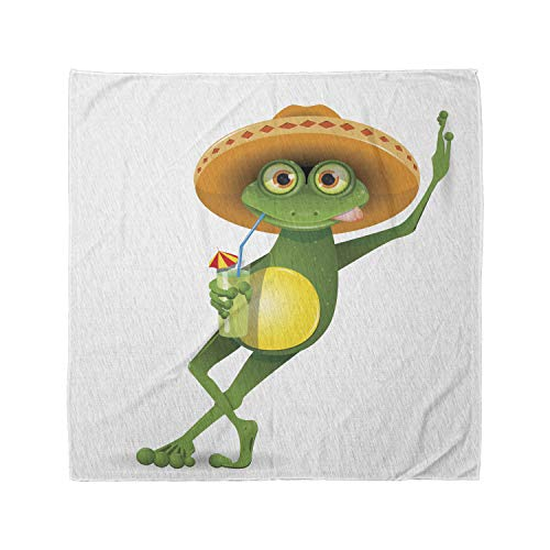 Lunarable Unisex Bandana, Cartoon Frog in a Sombrero Mexican, Fern Green Apricot