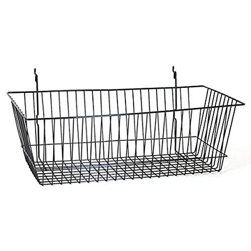 KC Store Fixtures A03015 Basket Fits Slatwall Grid Pegboard 24 W x 12 D x 8 H Black Pack of 6