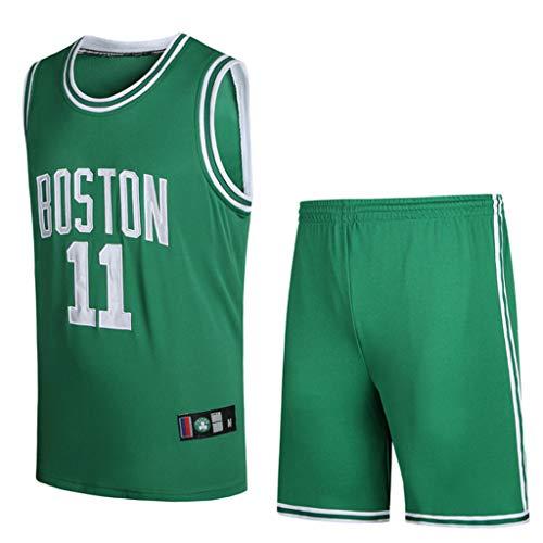 HANGESS Basketball Trikot und Shorts Irving Herren Celtics Swingman Jersey Shirt Grün/Weiß/Schwarz