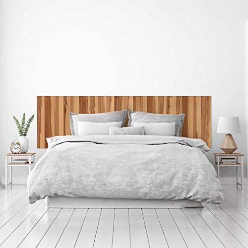 MEGADECOR Cabecero Cama PVC Decorativo Económico Textura Madera Cerezo Sapelly Vetas Verticales Varios Tamaños (150 cm x 60 cm)