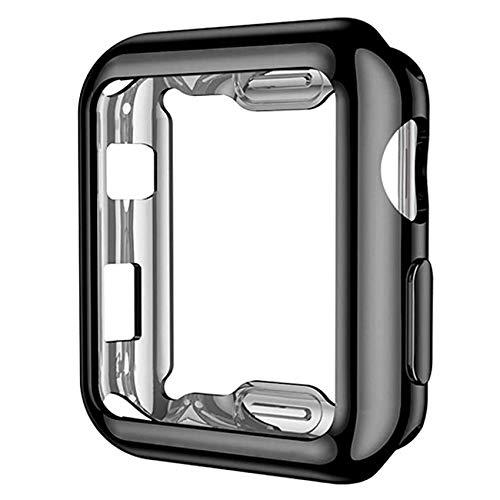 EasyULT Custodia per iWatch 44mm Series 4/5/6, Full Cover Protettivo TPU Case Placcatura per Apple Watch 44mm Series 4/5/6, Transparent+Nero