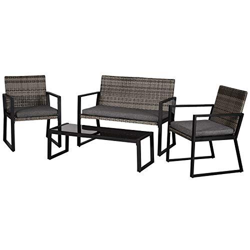 Outsunny Vierteiliges Gartenmöbel Set, Sitzgruppe, Sitzgarnitur, Sofa mit Sitzkissen, Kaffeetisch, Stahl, PE-Rattan, Grau