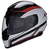 Z1R Casco de Moto Integral Homologado con Pantalla y Visera Parasol Desplegable | Ventilación | Color Negro, Rojo y Blanco | Policarbonato | Hombre o Mujer (Large)