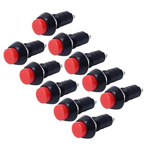 GUPENG Interruptores de botón eléctricos para automóviles Coche automático Universal de Bricolaje 2 Pin Alrededor del botón de Off-Cap Push, Apto for Coches (10 Piezas)