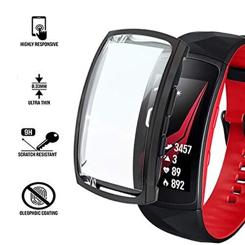 Ruentech Schutzhülle Kompatibel mit Samsung Gear Fit 2 Pro Schutzfolie Zubehör (Black)
