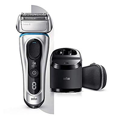 Braun Series 8 8390cc Next Generation, Electric Shaver, Clean and Charge Station, Fabric Case, Silver by Procter & Gamble