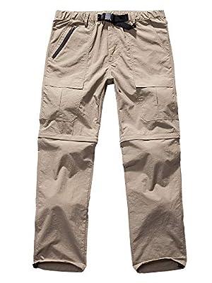 Men's Hiking Pants Zip Off Convertible Quick Dry Lightweight Outdoor Fishing Travel Safari Pants (6062 Khaki 29)