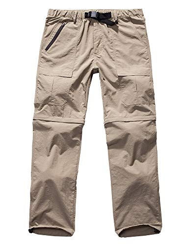 Men's Hiking Pants Zip Off Convertible Quick Dry Lightweight Outdoor Fishing Travel Safari Pants (6062 Khaki 34)