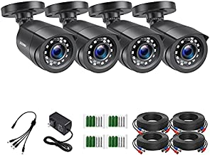ZOSI 4 Pack 2MP 1080p HD-TVI Home Security Camera Outdoor Indoor 1920TVL,24PCS LEDs,80ft Night Vision, 90°View Angle, Weatherproof Outside Surveillance CCTV Bullet Camera(Black)