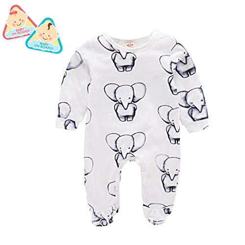 Meisjes Lange Mouw Leuke Kleine Olifant Gedrukt Stuk Romper Pasgeboren Baby Klimkleding voor Mannen En Vrouwen Winter Panty Gewicht 5~12 Kg