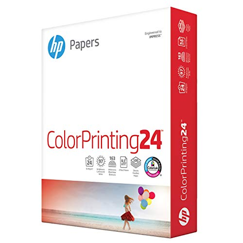 HP Printer Paper 8.5x11 ColorPrinting 24 lb 1 Ream 500 Sheets 97 Bright Made in USA FSC Certified Copy Paper HP Compatible 202000R